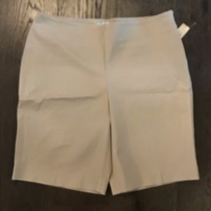 Khaki shorts, size zipper, two back pockets
